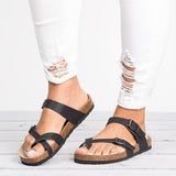 2lovit Leather Strap Buckle Flats Sandals