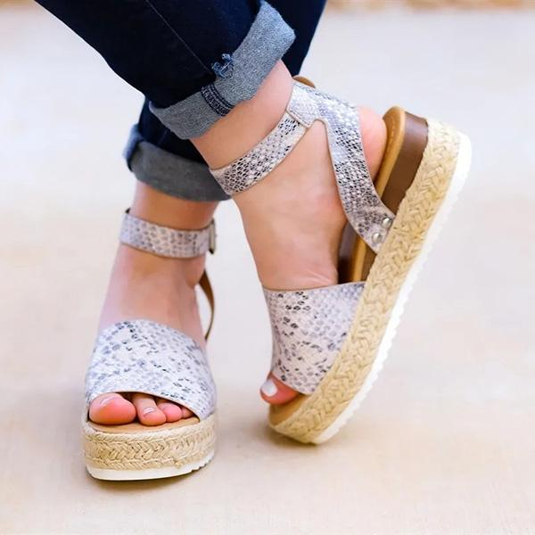 2lovit Espadrilles Ankle Strap Wedge Sandals