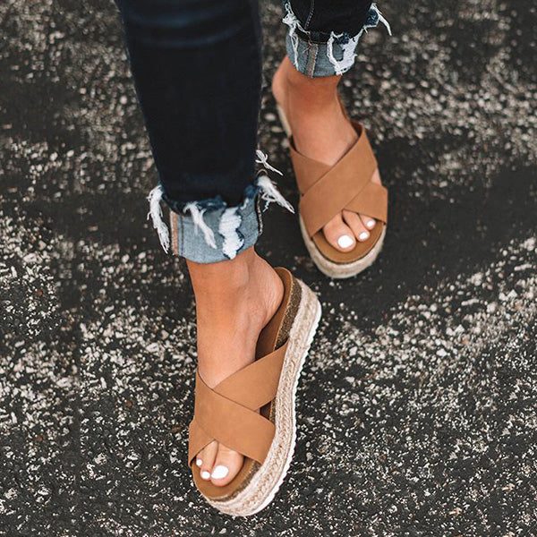 2lovit Criss Cross Flatform Slide Sandals