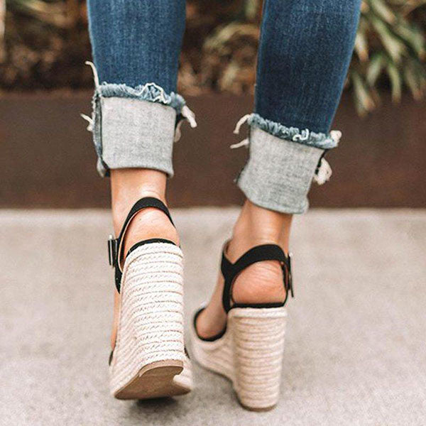 2lovit Fashion Adjustable Buckle Wedges