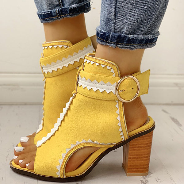 2lovit Yellow Open Toe Low Heel Sandals