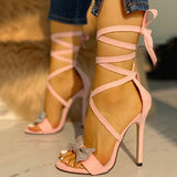 2lovit Rosette Open Toe High Heel Sandals