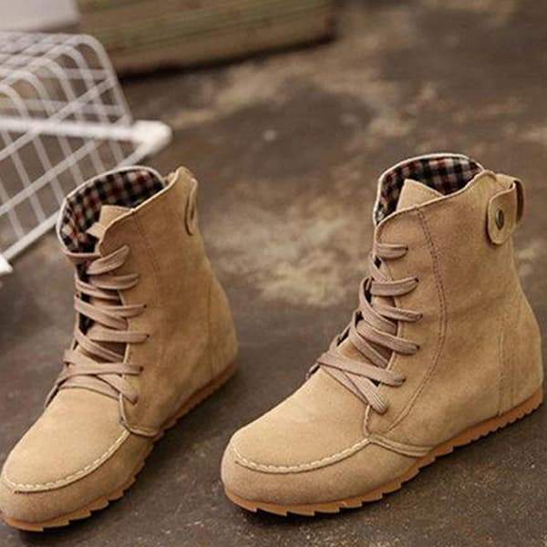2lovit Round Toe Ankle Lace-Up Boots