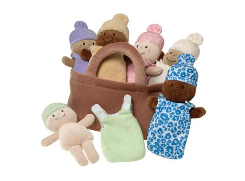 Basket full of babies - black and brown baby dolls