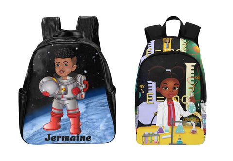 Brown Kid Swag Backpacks with black characters