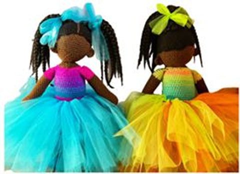Black dolls with tutus from Crochet Me This