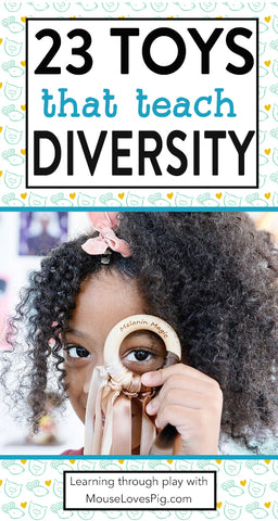 23 Toys to teach diversity and inclusion. Representation Matters in toys and this list is filled with beautiful toys that represent black and brown children. Diverse toys give children of all races more empathy, kindness, and belonging. MouseLovesPig.com