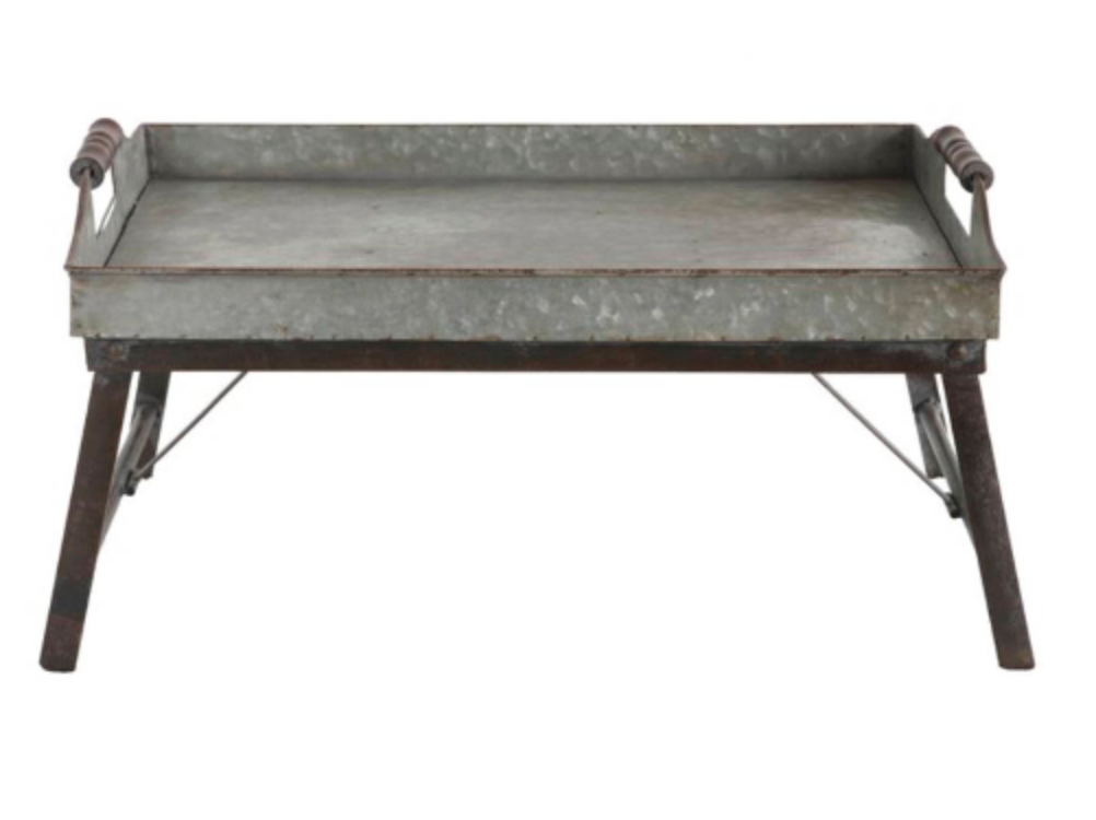 Farmhouse TRAY TABLE With HANDLES Galvanized Metal Eating Tray Seated Tv  Table Breakfast In Bed