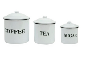 Enamel canisters set coffee tea sugar pantry canisters jars with lid storage jars enamelware farmhouse canisters white vintage canisters