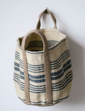 "Grain sack bag feedsack bag LARGE 24"" x 24"" country canvas bag modern farmhouse basket french strip blue bag jute bag jute basket striped"