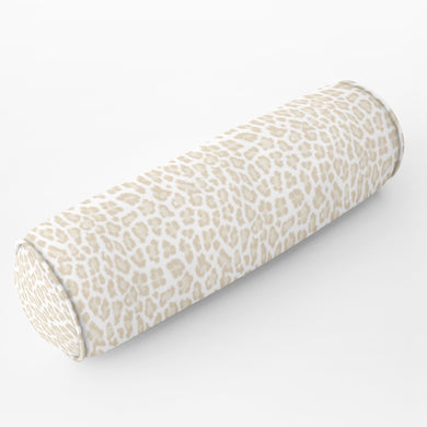 Long lumbar leopard print neutral Bed bolster round bolster cheetah natural cream long bolster bed lumbar pillow long lumbar pillow chenille
