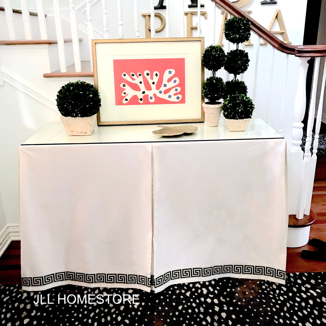 custom table skirt, console tablecloth console table cloth console tableskirt box pleat table skirt tablecloth with trim table cloth bottom trim ballard designs console table