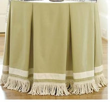 CUSTOM box pleat round tableskirt with double trim
