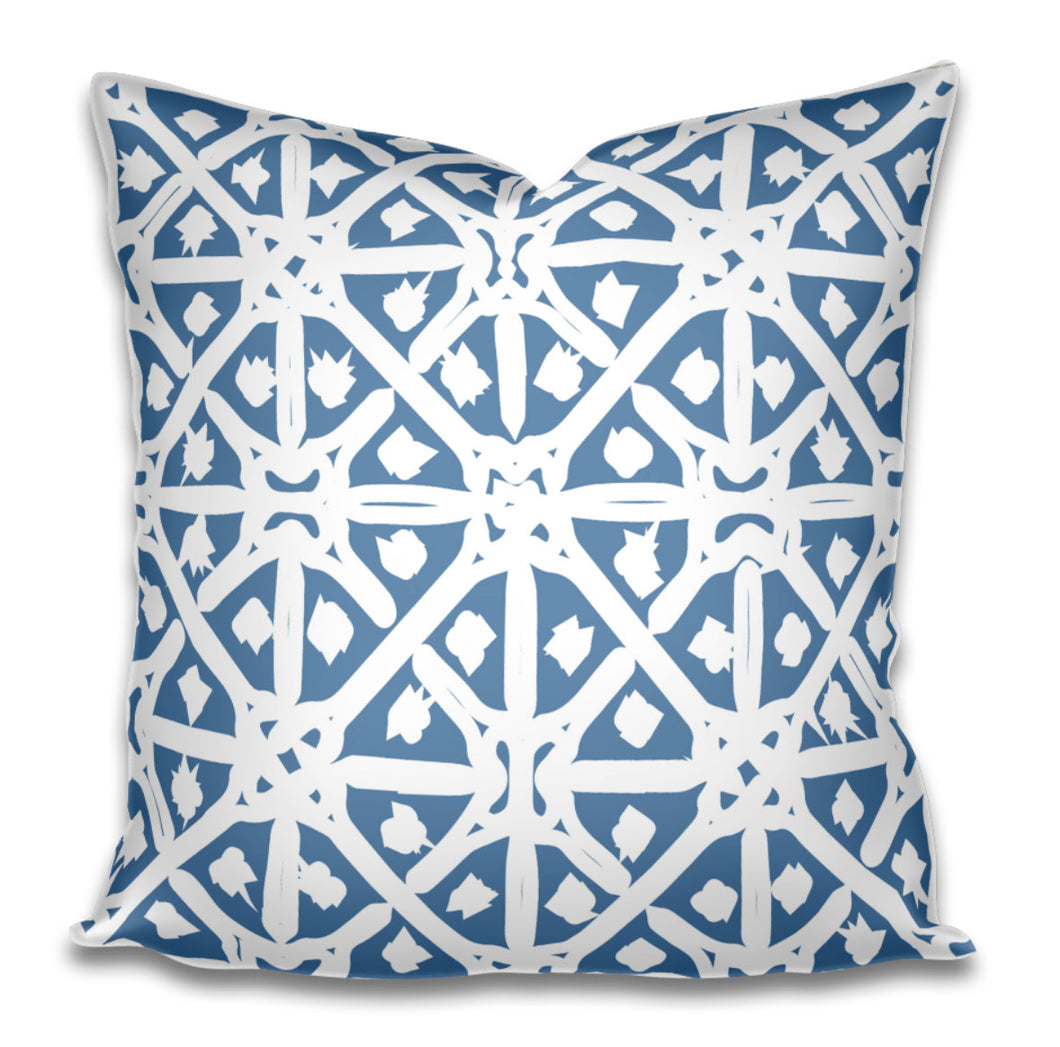 Designer Throw Pillow Accent Pillow Blue White Cotton Linen Arabesque Moroccan Greek Block Print Tribal Long Lumbar Pillow