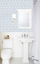Removable Wallpaper MADE IN USA Peel & Stick Self Adhesive Temporary Blue and white Painted Designer wall paper Powder Room Bath Hexagon