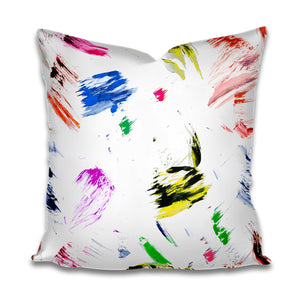 Designer Outdoor pillow cover, throw pillow Patio Porch cushion cover indoor outdoor colorful pierre frey similar brush stroke long lumbar