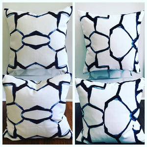 Designer Outdoor pillow cover, throw pillow Patio Porch cushion cover indoor outdoor use blues, white, cream tan starburst modern