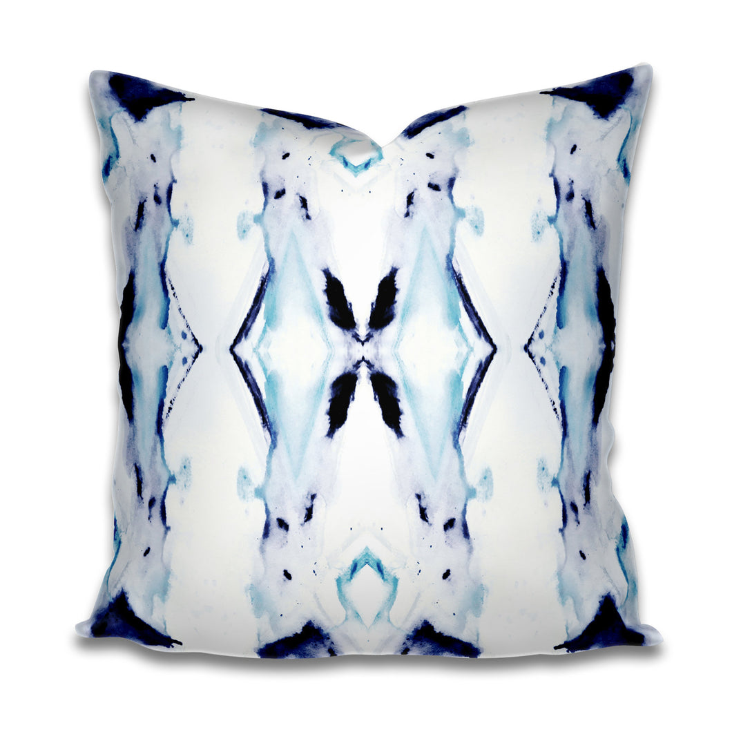 Indigo Pillow Cover Blue Navy Purple Teal Watercolor Cotton or Linen Throw Pillow Accent Pillow Painterly Ink Splotch Painted Lumbar Long
