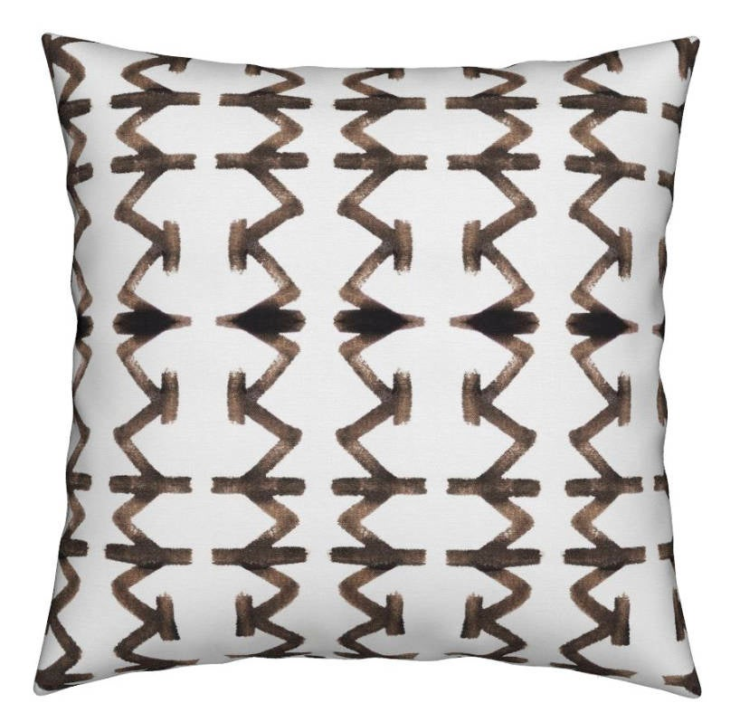 Brown and White Paint Stroke Pillow Tribal Print Urban Indoor Outdoor or Linen Custom Sizes Long Lumbar Outdoor pillows cushion cover drapes