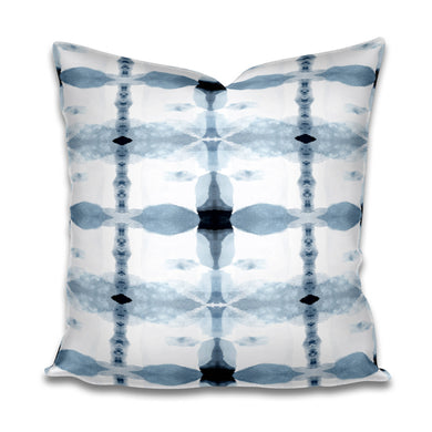 Navy and Light Blue and White Pillow Subtle Cotton or Belgian Linen Throw Accent Pillow Lumbar Long Watercolor Soft designer bohemian
