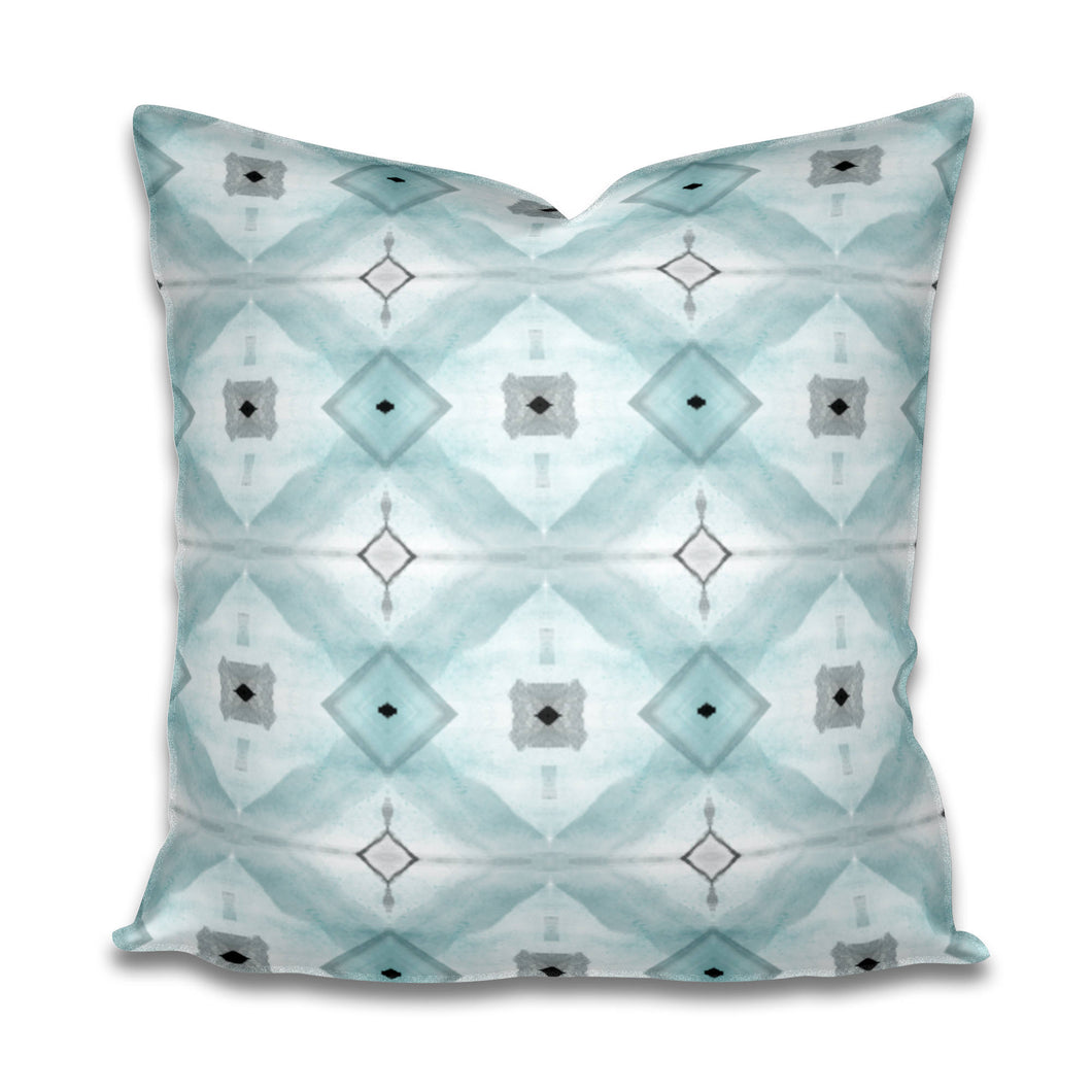 Aqua Pillow Soft Gray and White Pillow Subtle Cotton or Belgian Linen Throw Accent Lumbar Long Watercolor pale blue green mid century modern