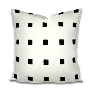 Black Squares on Ivory Linen Throw Pillow Cream Black and White pillow geometric Lumbar hollywood regency modern pillow chic custom size