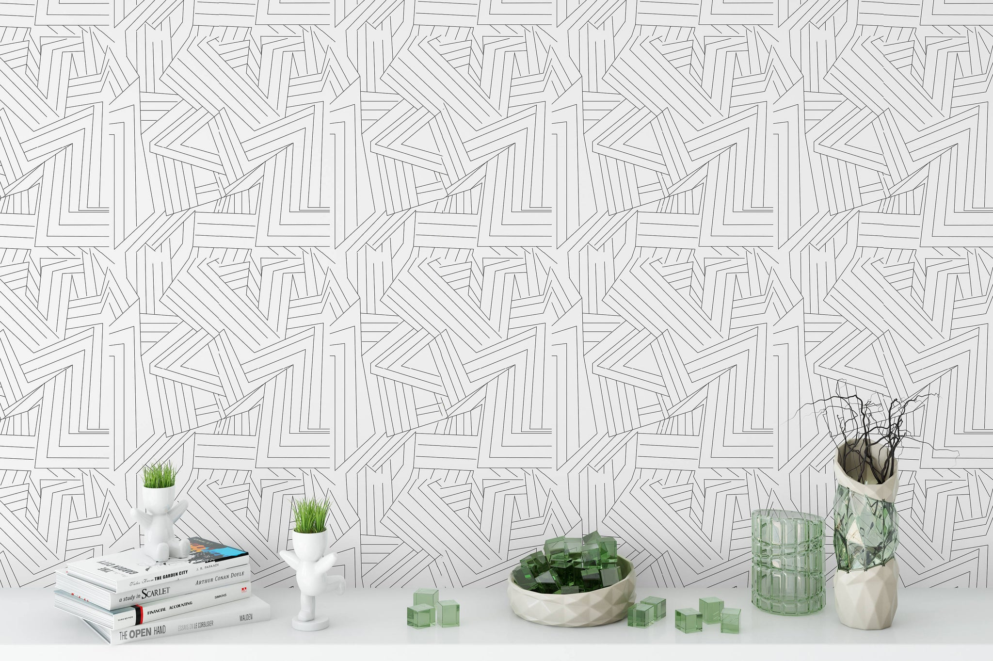Removable Wallpaper Black White Lines Peel Stick Wallpaper Self