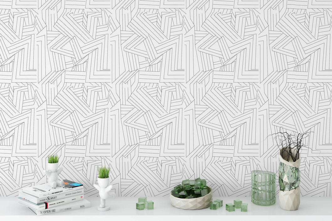 Removable Wallpaper Black white lines Peel & Stick wallpaper Self Adhesive Temporary Decal linear stripes modern boho wallpaper apartment