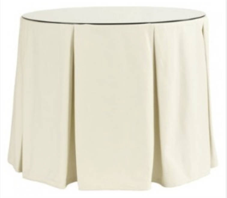 Round table skirt pleated box pleats