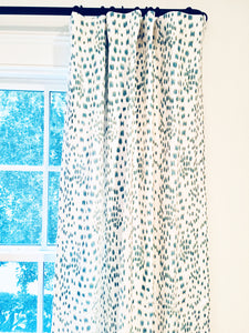 Brunschwig and Fils curtains Les Touches curtains les touches drapes curtain panels dalmation print black and white blue and white dots
