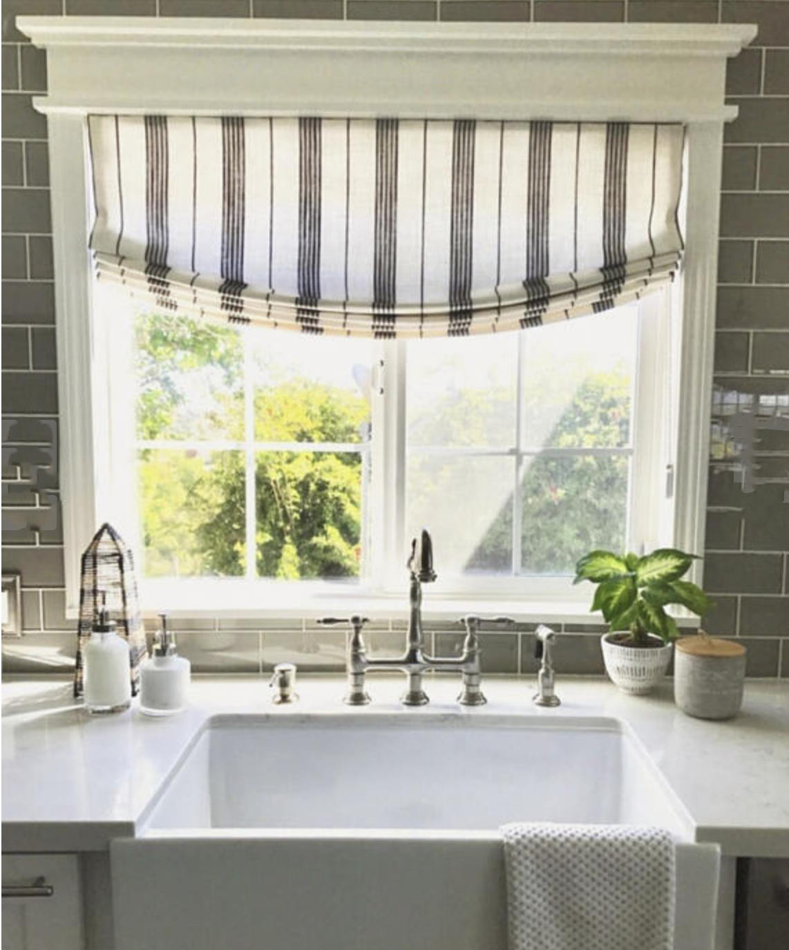 Kitchen Curtains Above Sink Farmhouse Roman Shades