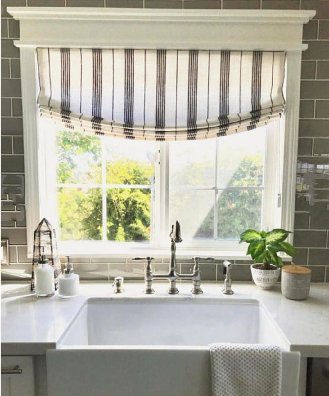 MODERN FARMHOUSe Roman Shades CUSTOM size striped roman shades kitchen window shades black white roman shade stripes ticking window shade