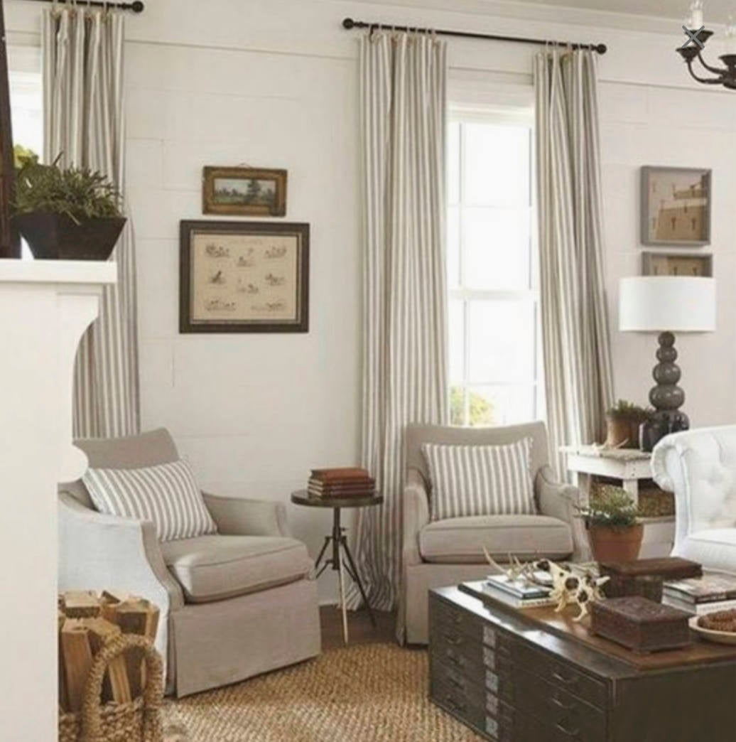 Modern Farmhouse Curtains Tan Stripe Curtains Cottage Chic Drapes Curt Jll Home