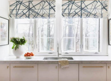 ROMAN SHADES CUSTOM Kelly Wearstler Channels Groundworks fabric window shades curtains periwinkle ebony ivory plum lake Kravet roman shades