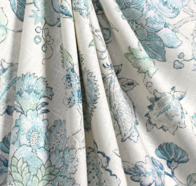 Jacobean curtains pale blue curtains floral curtains light blue flower drape curtains custom curtain panel pleated grommet bedroom curtains