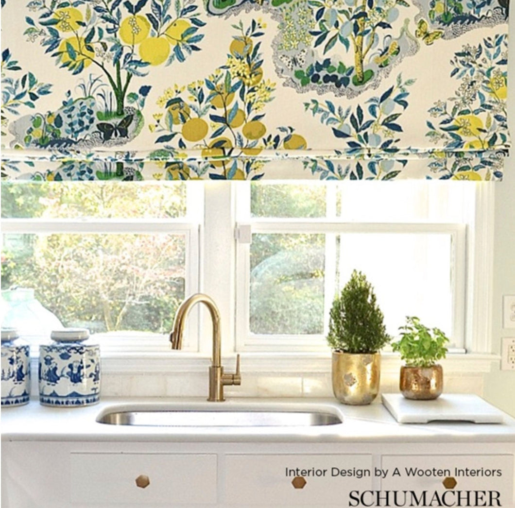 ROMAN SHADES CUSTOM Schumacher Citrus Garden window shade valence kitchen valance citrus garden primary or pool lemons oranges bright yellow