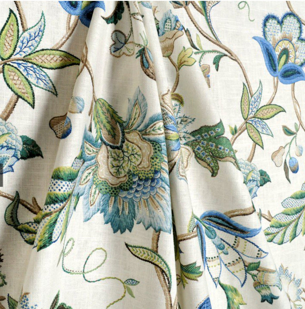 Blue green curtains jacobean curtains floral curtains flower drape curtains custom curtain panel pleated grommet clip ring damask blue print
