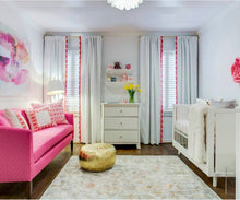 Curtains with pink trim Nursery curtains pink coral curtains Trimmed drapes extra long curtain panels curtains with tassels band ribbon trim