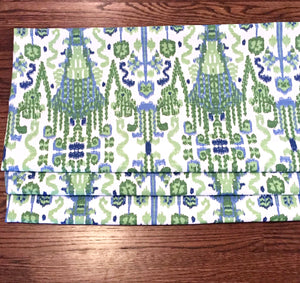 Faux Roman shades blue green QUICK SHIP Lacefield Bombay Kelly roman shades blue kitchen valance flat valence blue ikat window shades faux