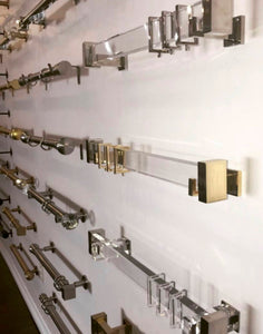 Lucite Curtain Rod BRACKET Acrylic bracket Brass Curtain Rod bracket end bracket center bracket Brass Rectangle Gold Curtain support lucite