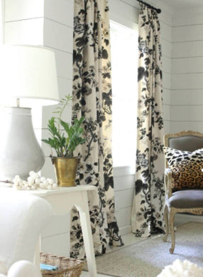 Schumacher curtains Pyne Hollyhock curtains floral print curtains custom designer curtain panel pleated grey floral blue white drapes blush