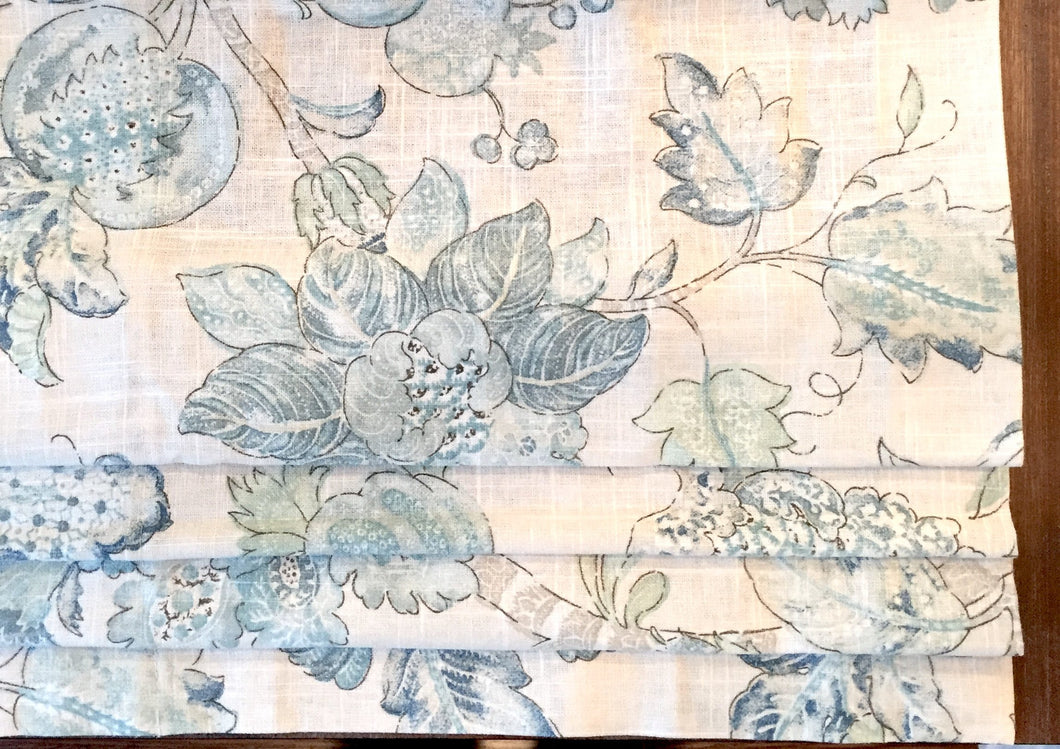 Floral roman shade jacobean floral blue floral linen roman shade linen window shade kitchen bedroom roman shades light blue green valance