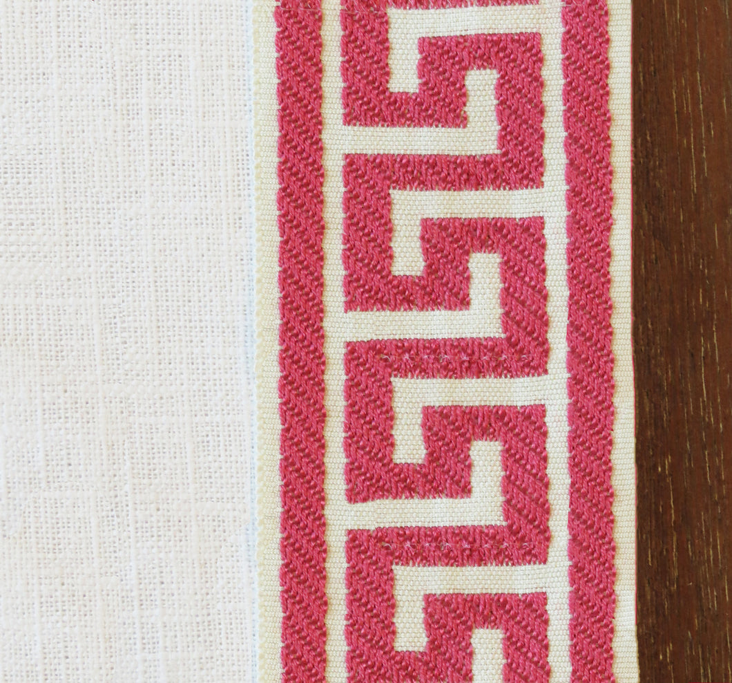 Pink Greek Key Curtains with pink trim Nursery curtains pink coral curtains Trimmed drapes curtain panels curtains with trim tape ribbon