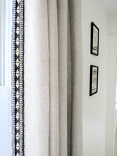 Linen curtains with trim beige linen tan linen dark gray trim tape boho curtains bedroom curtains natural linen curtains border ribbon trim