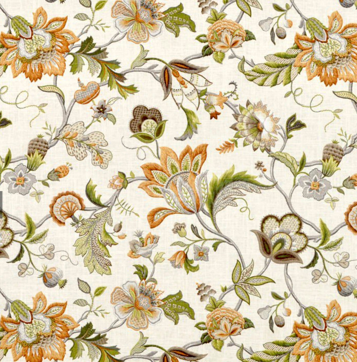 Jacobean Curtains Green Orange Beige Curtains Floral
