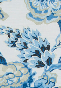 BLUE CHINOISERIE curtains blue jacobean curtains THIBAUT curtains curtain panels pleated blue ivory white drapes oriental curtains floral