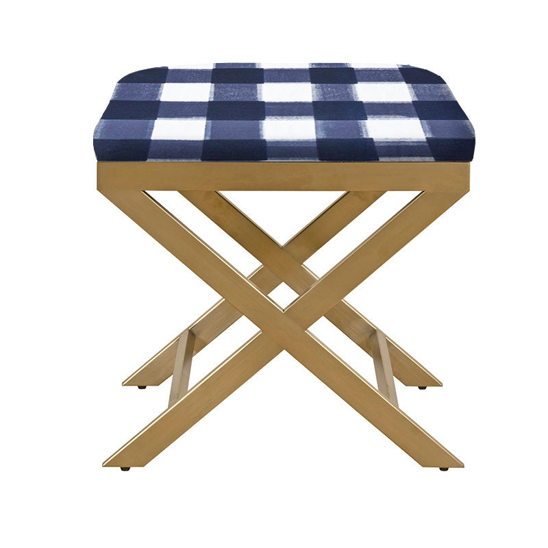 X Bench Brass With Navy Buffalo Check Fabric Ottoman Bench