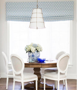 Bay Window Roman Shades CUSTOM size blue roman shades dining window shades offwhite linen pale blue light blue roman shade dots hexagon