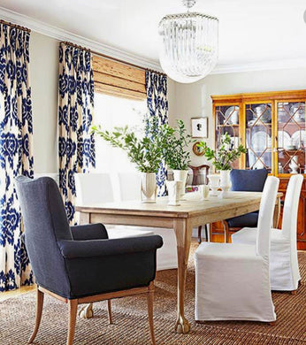 Blue IKAT curtains blue white curtains Duralee kilim drapes curtains custom designer curtain panel dining extra long blue navy ikat curtain