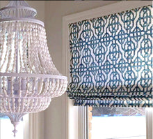 Blue roman shades blue ogee blue trellis window shade blue lattice work roman shade blue and white window shade cordless roman shade teal